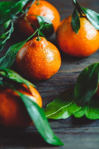 Tasty clementines on a table. Macro food photography.