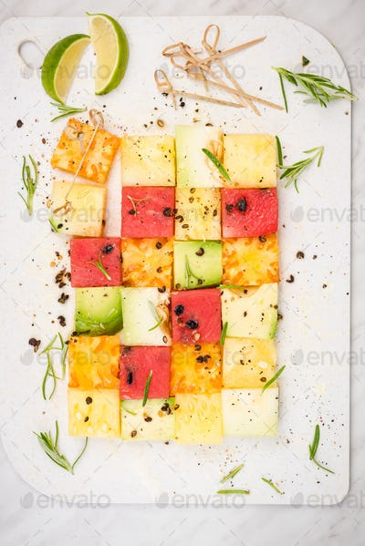 Creative and Healthy Picnic or Party Food, Square Fruit Pieces o