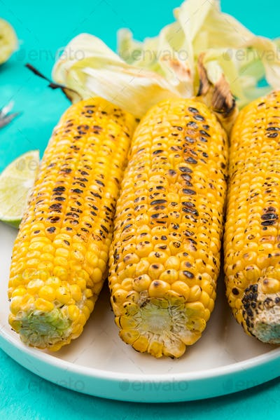 BBQ Grilled Corn on Con with Lime and Salt, Mexican Street Food