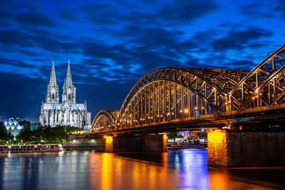 Night in Cologne at the river Rhine