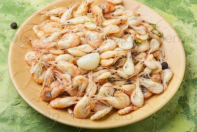 Boiled sea prawns