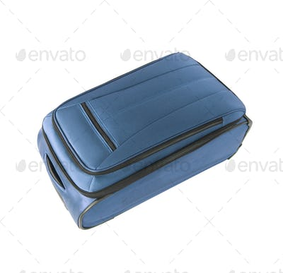 blue convenient suitcase isolated on white background