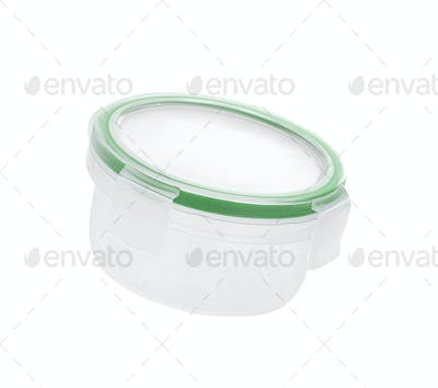 Round plastic container isolated on white background