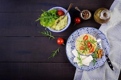 Healthy avocado toasts for breakfast or lunch,  guacamole avocado, kalamata olives, tomatoes