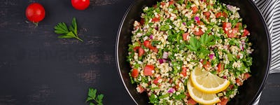 Tabbouleh salad. Traditional middle eastern or arab dish. Levant