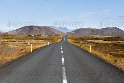 Road in Golden Circle region of Iceland IS Europe