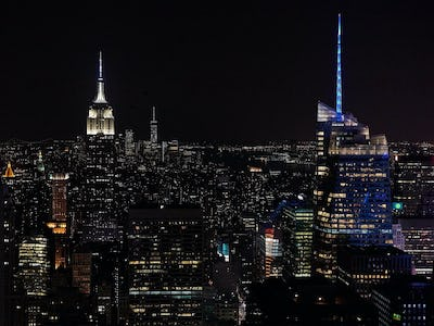 New York city in USA seen from above at night