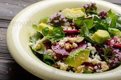 Mediterranean roasted beet salad with avocado walnuts feta chees