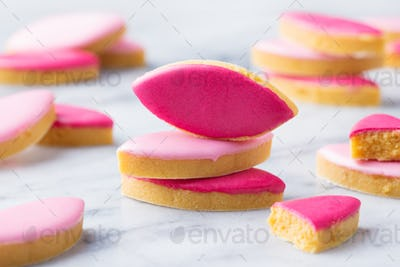 Calissons, Traditional French Provence Sweets on Marble Table Background. Close up.