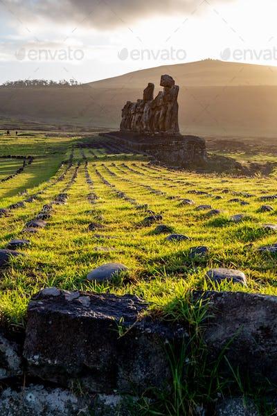 EASTER ISLAND Moais - Ahu Tongariki on rise of sun. Chile.