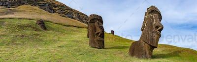Moai statues of Ranu Raraku, Easter Island. Chile