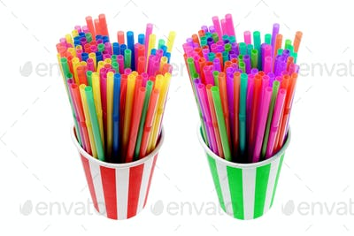 Paper Cups with Straws