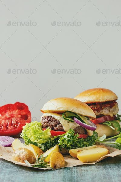 Homemade hamburger with beef