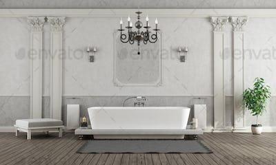Luxury white and gray home bathroom with elegant bathtub - 3d rendering