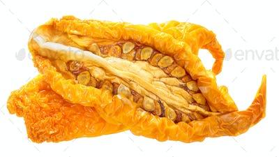 Sun-dried yellow tomato halves, paths