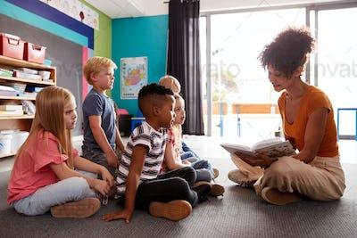 Group Of Elementary School Pupils Sitting On Floor Listening To Female Teacher Read Story