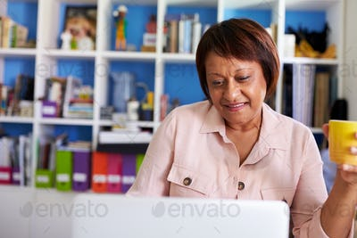 Smiling Mature Woman With Laptop Working In Home Office