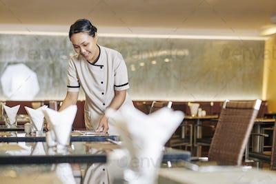 Waitress working at restaurant