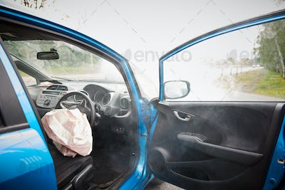 Interior Of Car After Accident With Safety Airbag Deployed