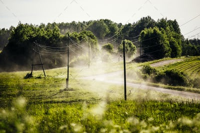 Dusty countryside road in summer