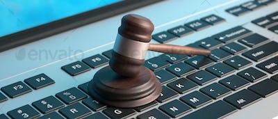 Online auction, law gavel on computer keyboard, banner, 3d illustration