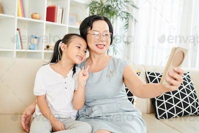 Selfie portrait with granddaughter