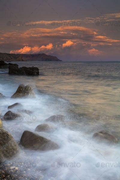 Beautiful sunrise on the beach in the Crimea