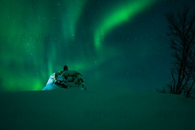 Aurora borealis above the Norway Finland border