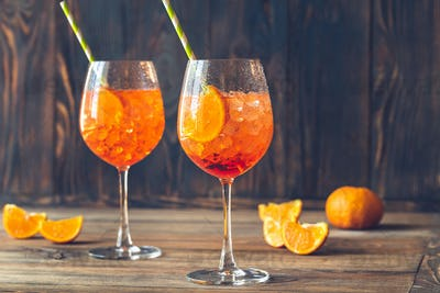 Glasses of Aperol Spritz cocktail