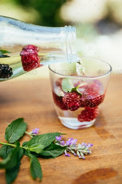 Pouring Infused Water In The Glass