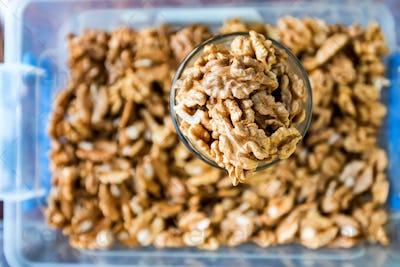 Raw peeled walnut kernels for sale in market