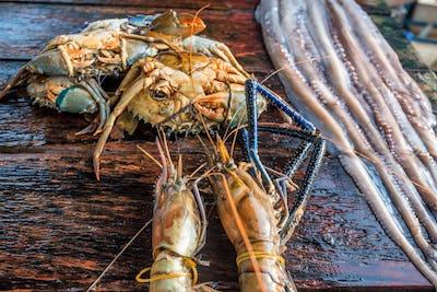 Fresh raw fish and seafood at market