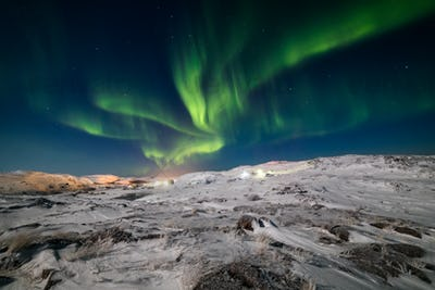 Northern Lights on the shore of the Arctic Ocean