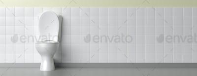 Toilet bowl on white background, banner. 3d illustration