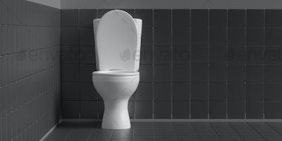 Toilet bowl on black background, copy space. 3d illustration
