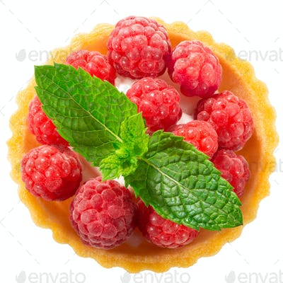 Raspberry tart dessert, paths, top