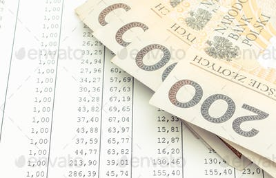 Polish currency money on spreadsheet. Business concept