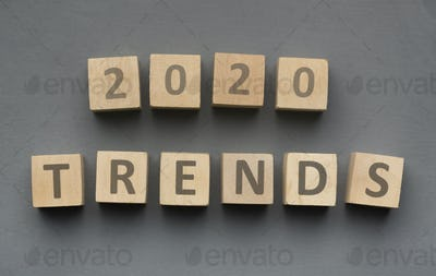 Wooden blocks with new year concept on grey background