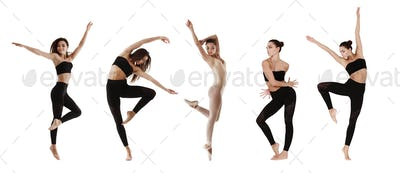Collage Of Contemp Dancer In Different Positions On White Background
