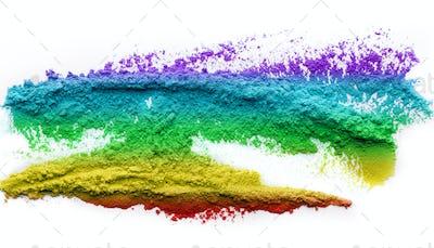 Rainbow holi powder splatted on white background
