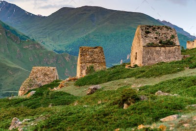 View of medieval tombs in City of Dead in Eltyulbyu, Kabardino-Balkaria, Russia