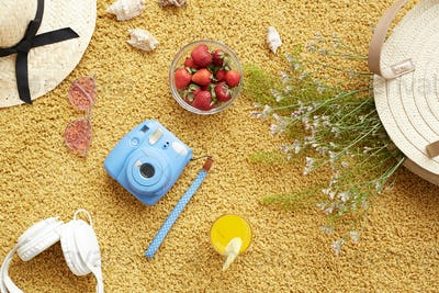 Summer composition with instant camera