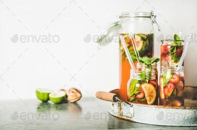 Fresh homemade strawberry and basil lemonade on metal tray