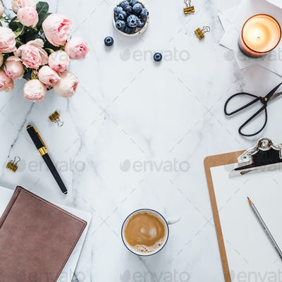Flat lay, feminine home office. Copy space