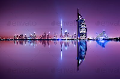 Detail of skyscraper reflection. The Palm island, United Arab Emirates.