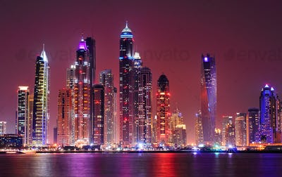Amazing night panorama of Dubai Marina. United Arab Emirates