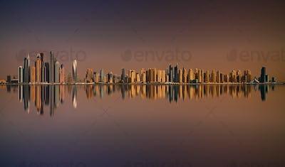 Sunset panorama of Dubai Marina, Dubai, United Arab Emirates