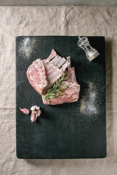 Raw rack of lamb