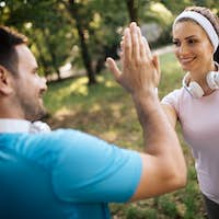 Fitness training for couple in love outside