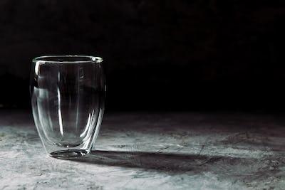glass on black background